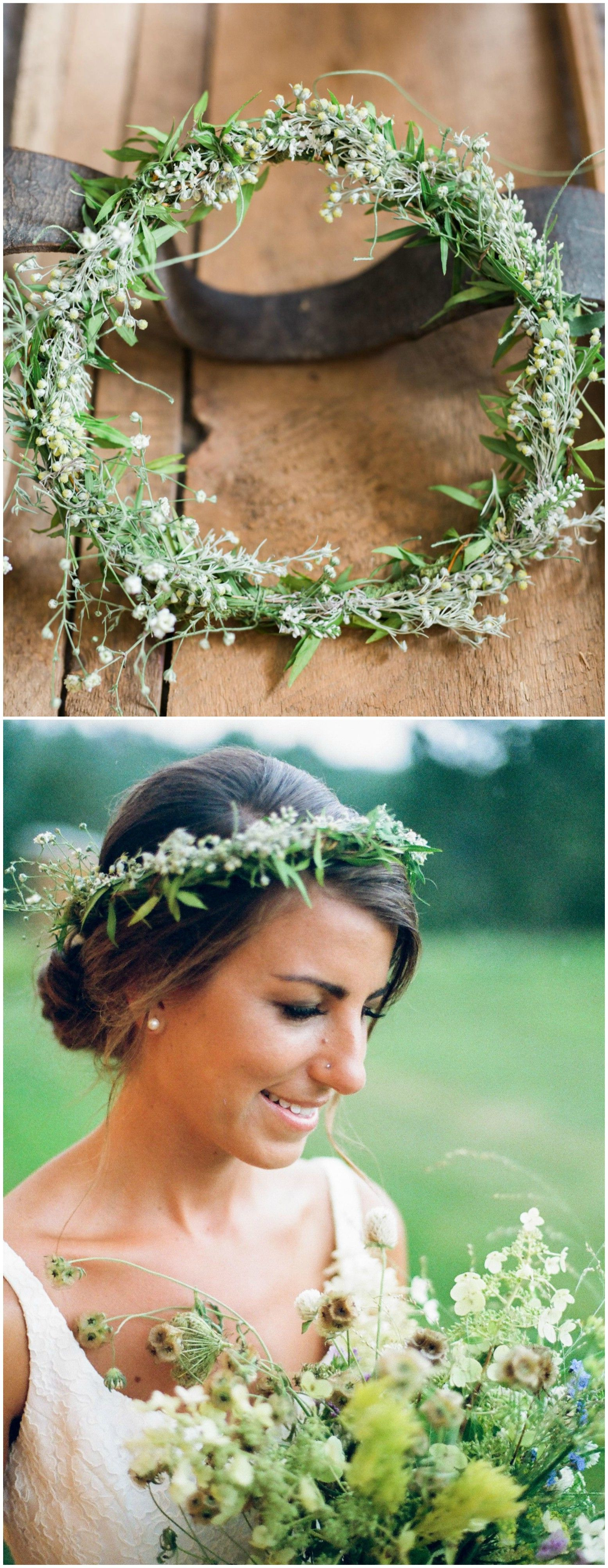 Natural Bridal Hairstyle, Wedding Up Do, Low Bun, Flower Crown Intended For Latest Undone Low Bun Bridal Hairstyles With Floral Headband (View 12 of 20)