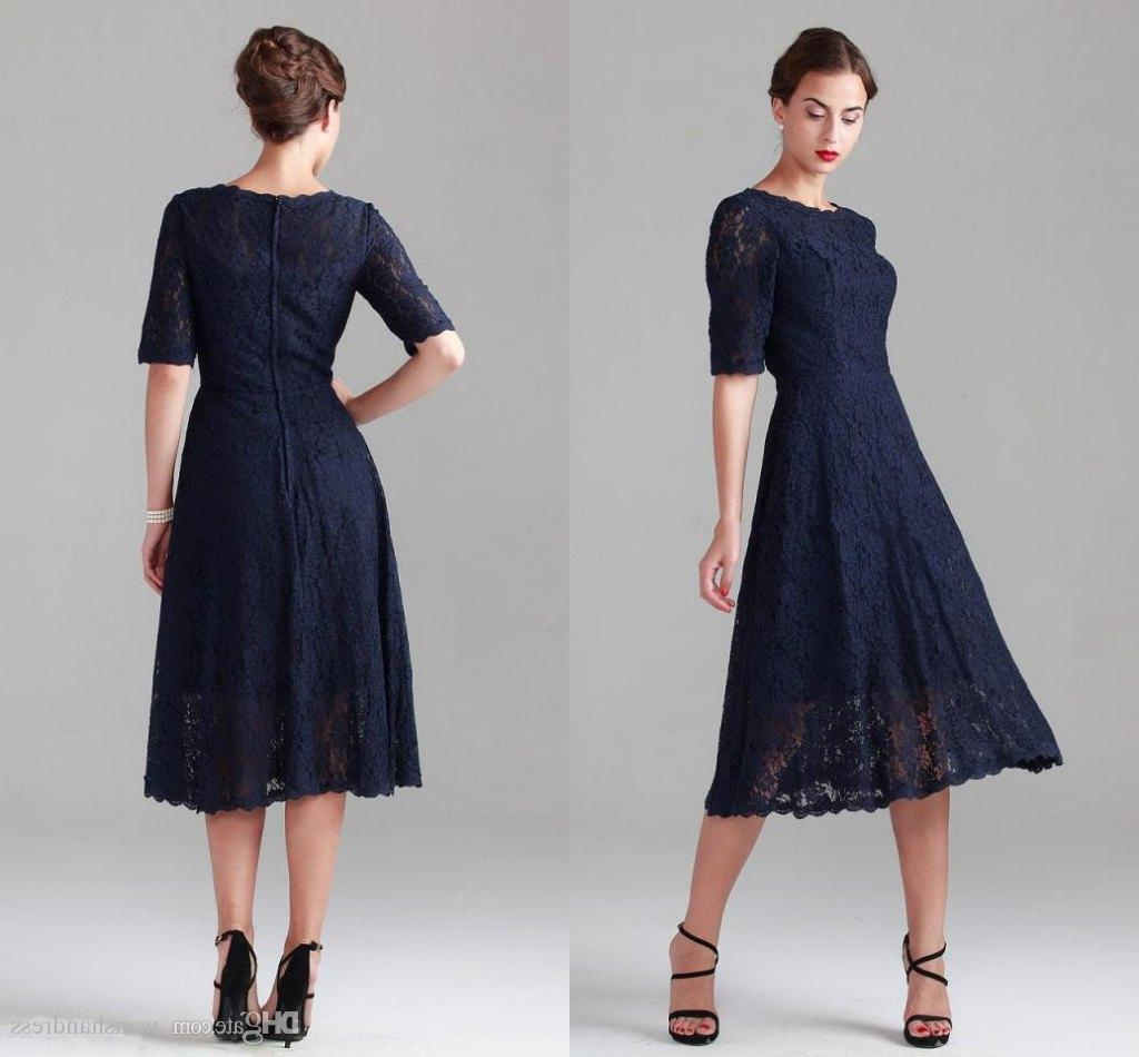 Navy Blue Tea Length Lace Mother Of The Bride Dresses Vintage Half Pertaining To Well Liked Vintage Mother Of The Bride Hairstyles (View 16 of 20)
