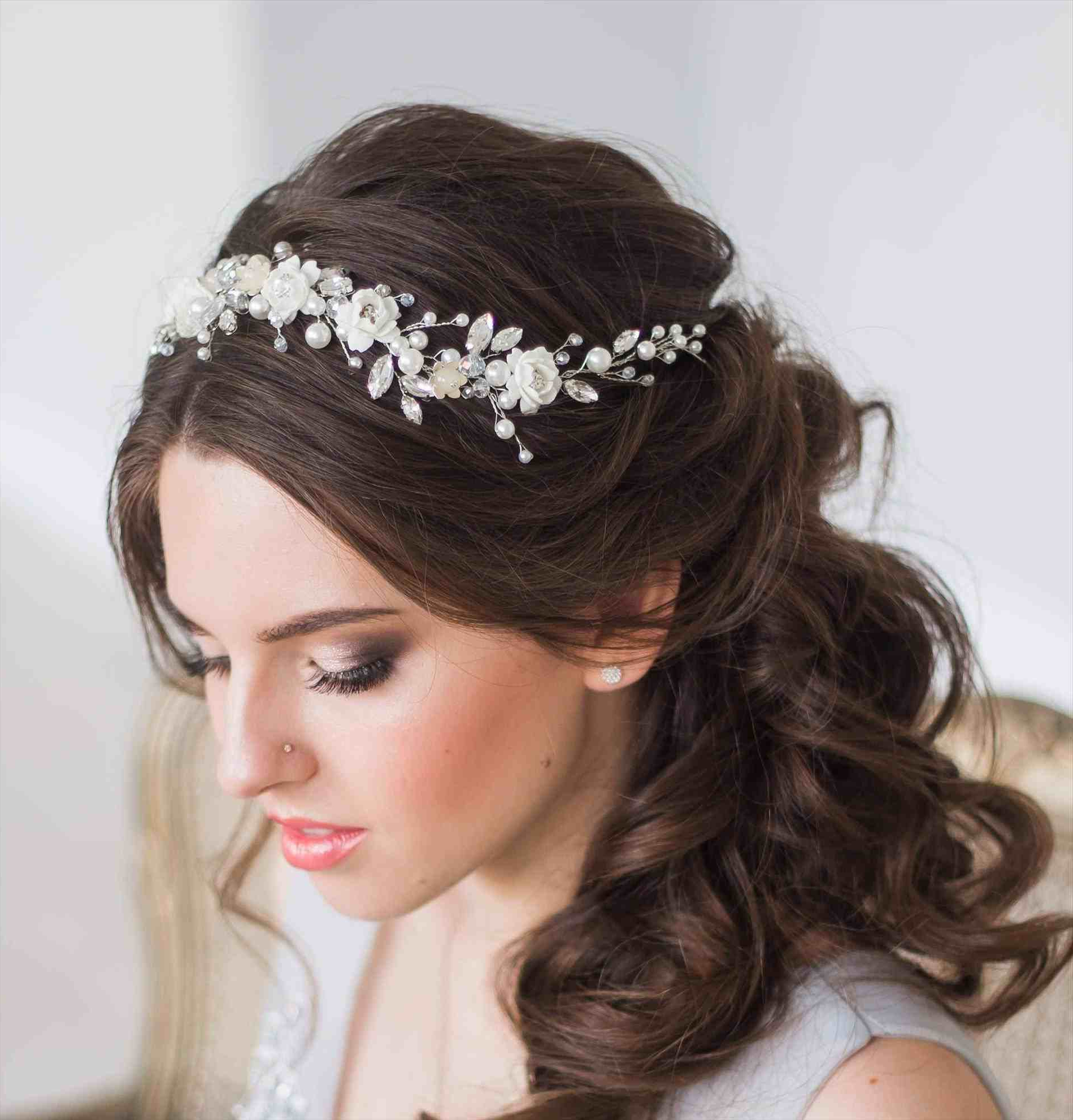 Newest Floral Crown Half Up Half Down Bridal Hairstyles With Regard To Half Up Down Bridal Style Flower Crown Rhpinterestcomau Half Wedding (View 15 of 20)