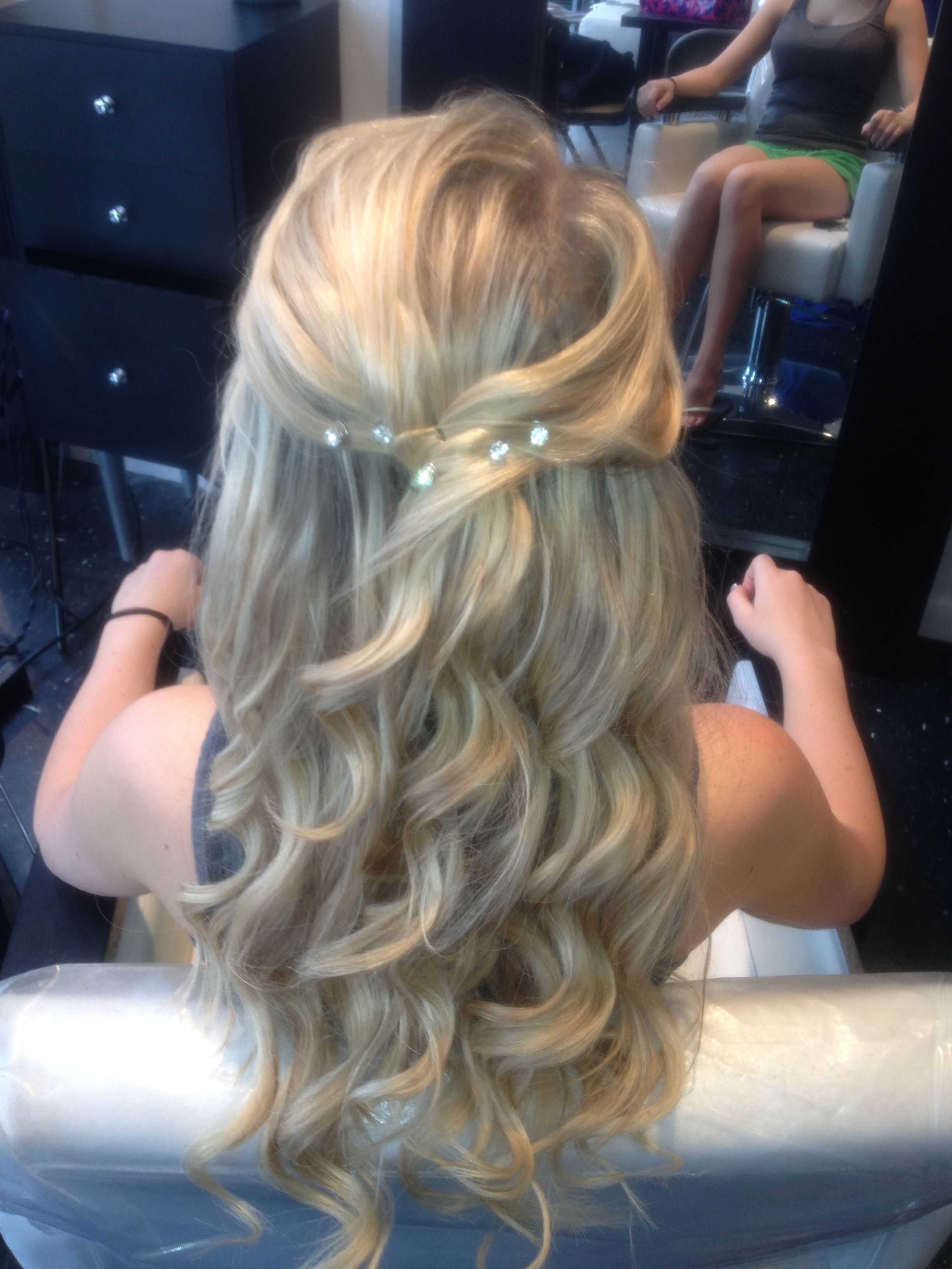 Newest Half Up Wedding Hairstyles With Jeweled Clip Throughout My Half Up Half Down Curled Prom Hair With Jewels (View 13 of 20)