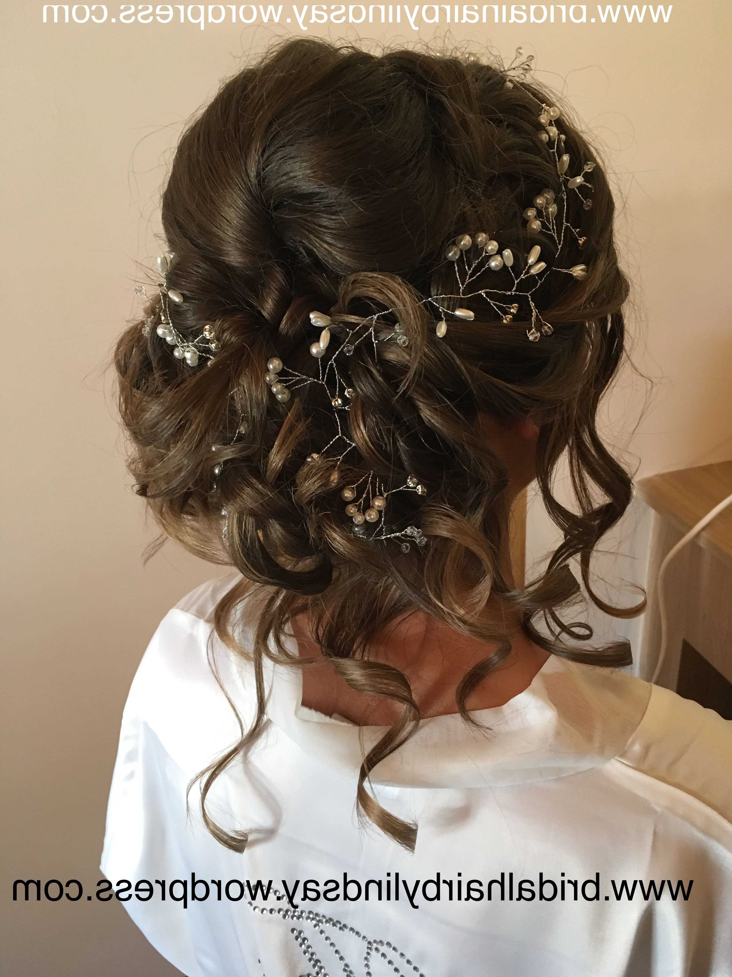 Newest Subtle Curls And Bun Hairstyles For Wedding In Bridalhairme #stafford #cannock #midlands #updo #cascade #curls (View 15 of 20)