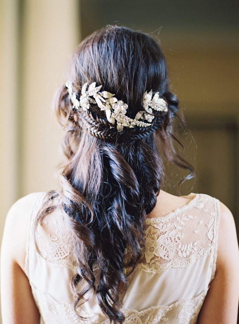 Popular Crown Braid, Bouffant And Headpiece Bridal Hairstyles Inside Half Up, Half Down Wedding Hairstyles For Every Type Of Bride (Gallery 12 of 20)