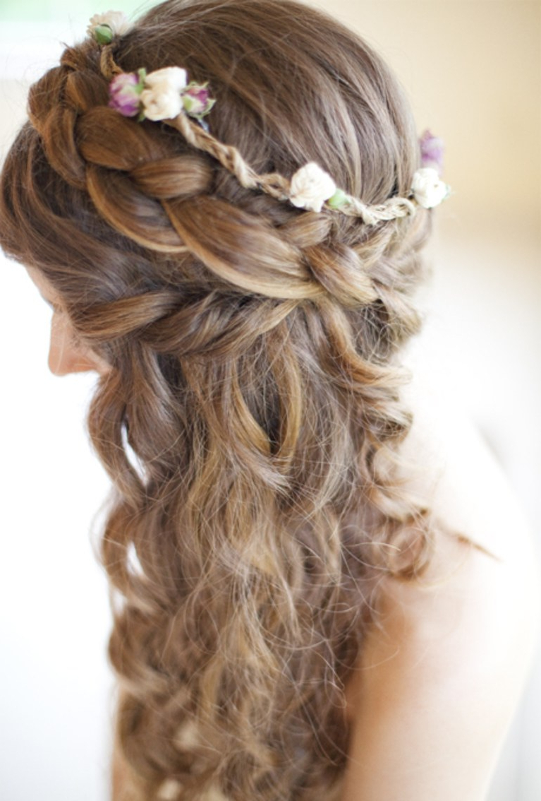 Popular Half Up Curls Hairstyles For Wedding For Half Up Curly Hair With Braided Crown (View 12 of 20)