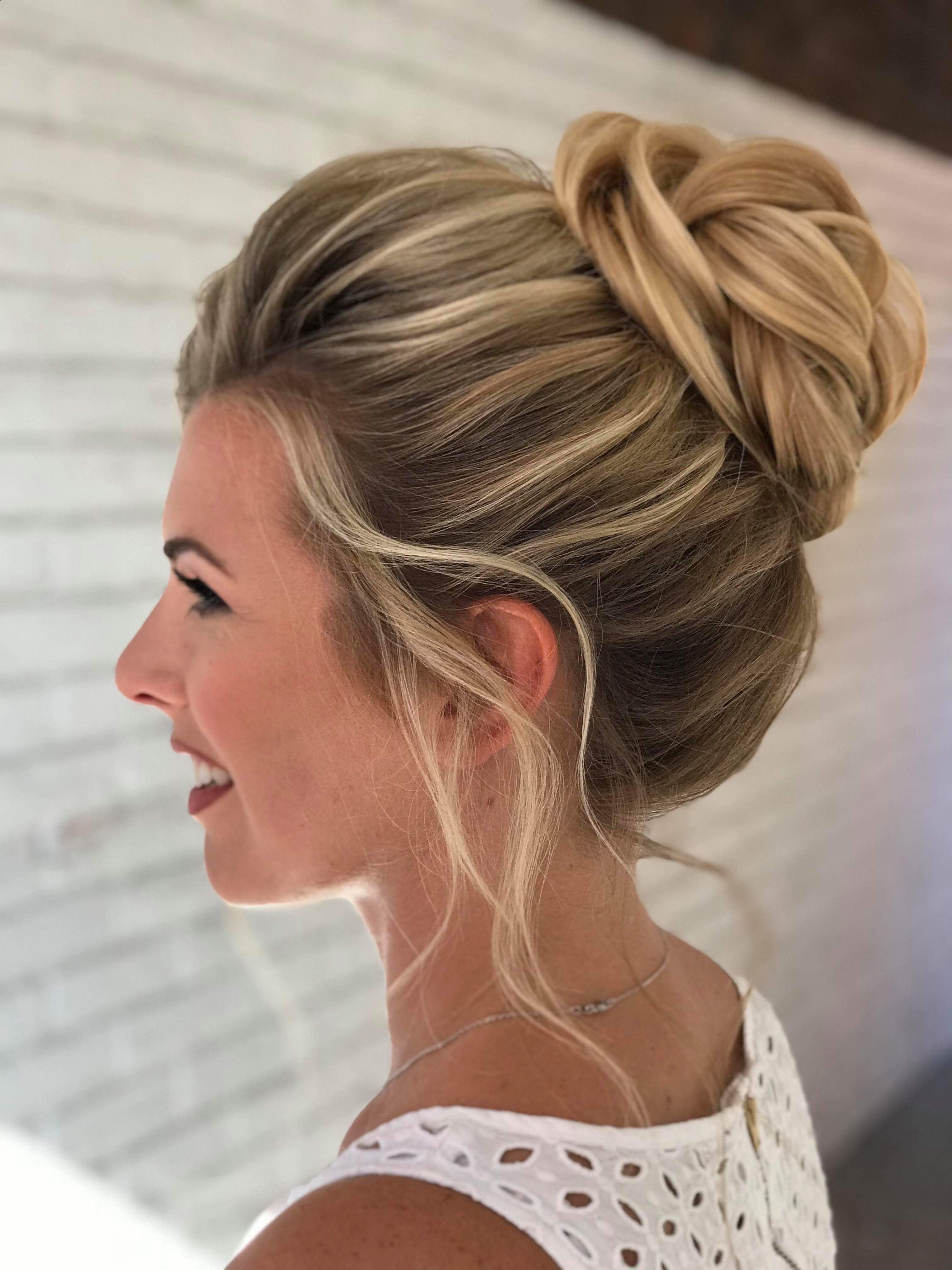 Popular Highlighted Braided Crown Bridal Hairstyles Throughout Wedding Hairstyle High Bun On Highlighted Blonde Hair (View 15 of 20)