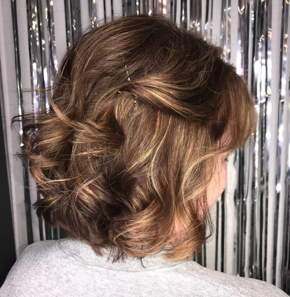 Popular Pulled Back Layers Bridal Hairstyles With Headband For Mother Of The Bride Hairstyles: 24 Elegant Looks For  (View 16 of 20)