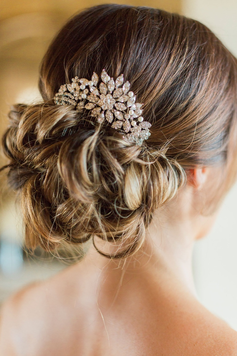 Preferred Bridal Chignon Hairstyles With Headband And Veil Intended For Headpieces & Veils Photos – Crystal & Pearl Headpiece On Bun (Gallery 18 of 20)