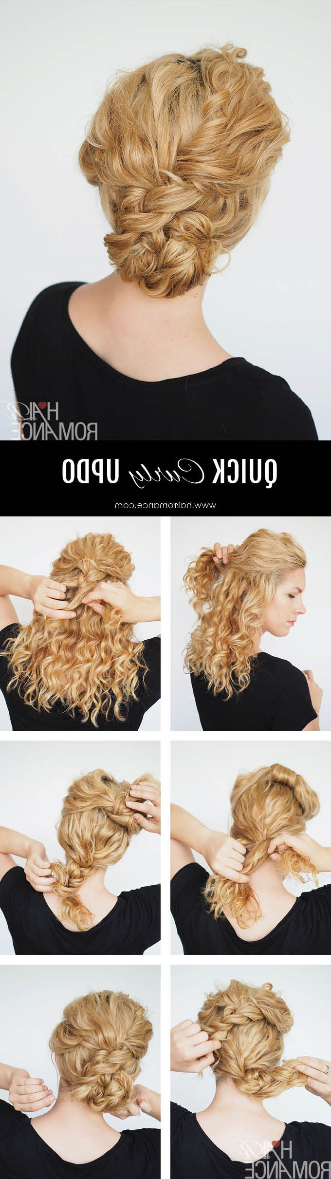 Preferred Curly Messy Updo Wedding Hairstyles For Fine Hair Pertaining To 2 Min Updo For Curly Hair – Hair Romance (View 20 of 20)