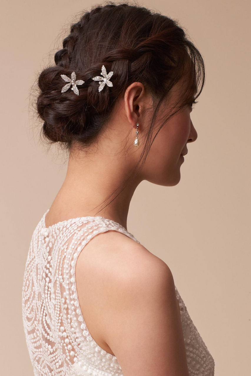 Preferred Curly Wedding Hairstyles With An Orchid With Regard To 50 Wedding Hairstyles Pinterest Elegant Crystal Orchid Hair Bobbies (View 11 of 20)