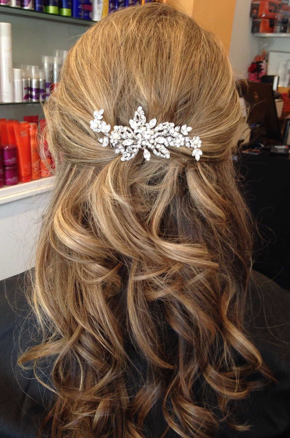 Preferred Pulled Back Half Updo Bridal Hairstyles With Comb Within Vintage Inspired Bridal Hair Accessories Rhinestone Wedding Hair (View 9 of 20)
