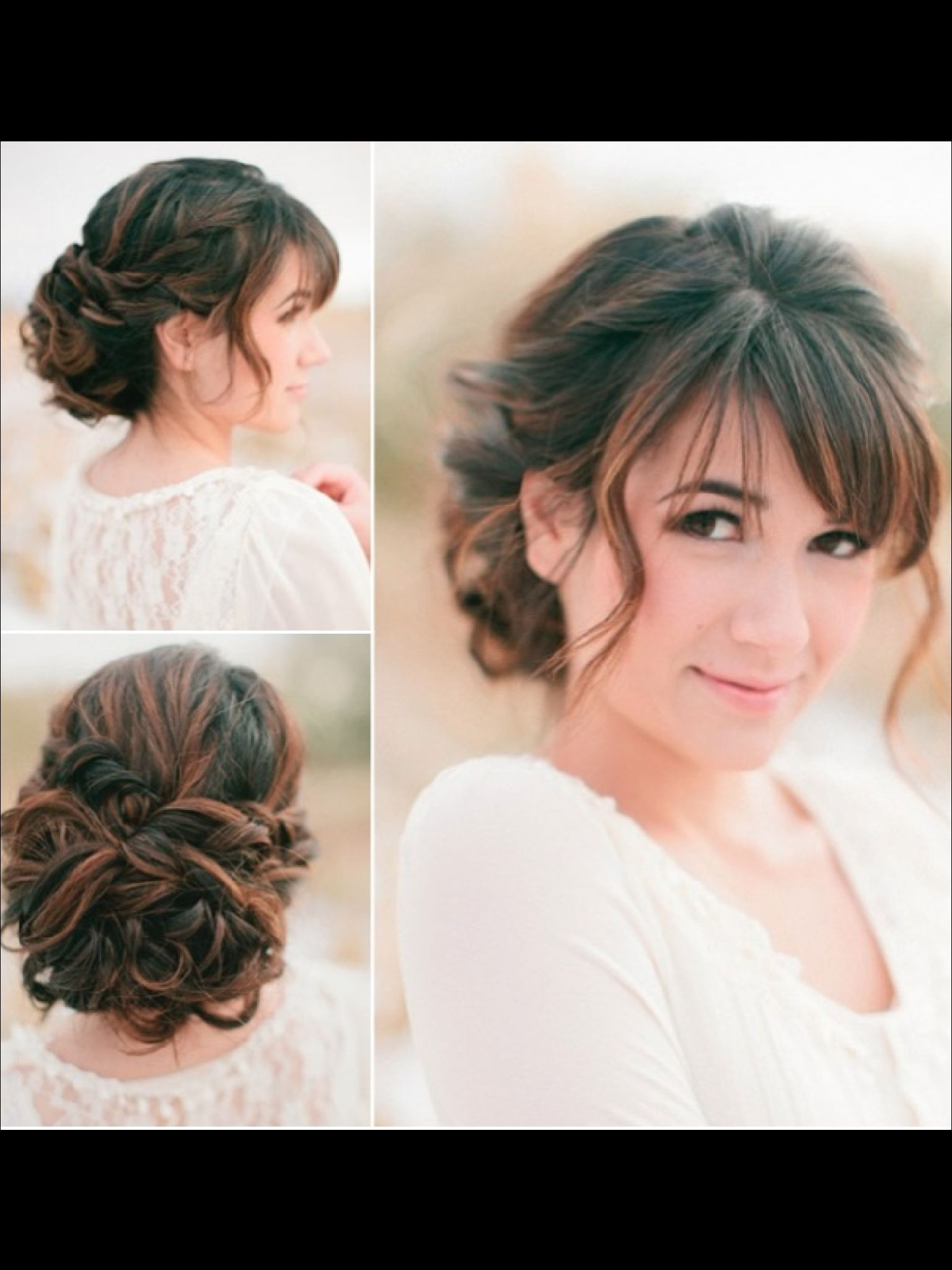Pretty Updo For Long Curly Hair With A Fringe (View 16 of 20)