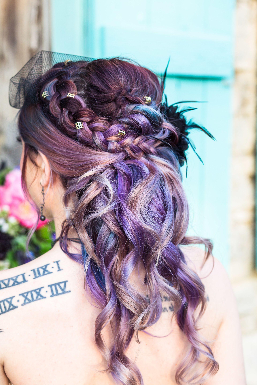 Purple Bridal Hair, Edgy Wedding Hairstyles, Braided Half Up Half Regarding Preferred Braided Lavender Bridal Hairstyles (View 15 of 20)