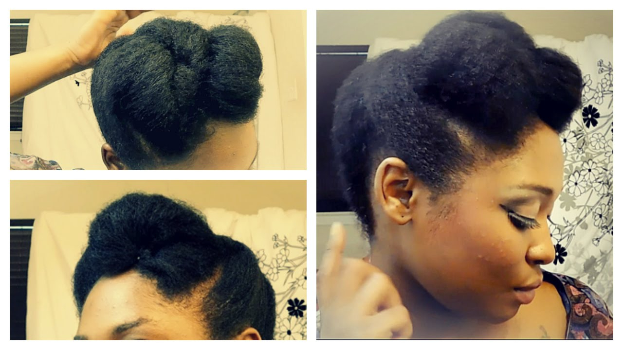 Quick And Easy Updo On Short To Medium Length 4B/4C Natural Hair In With Regard To 2018 Pompadour Bun Hairstyles For Wedding (Gallery 20 of 20)