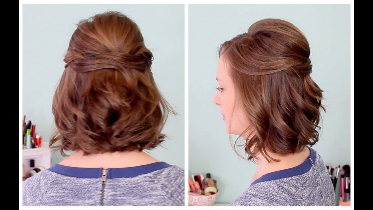 Quick Half Up Hairstyle For Short Hair – Youtube Inside Favorite Curly Wedding Updos With A Bouffant (Gallery 8 of 20)