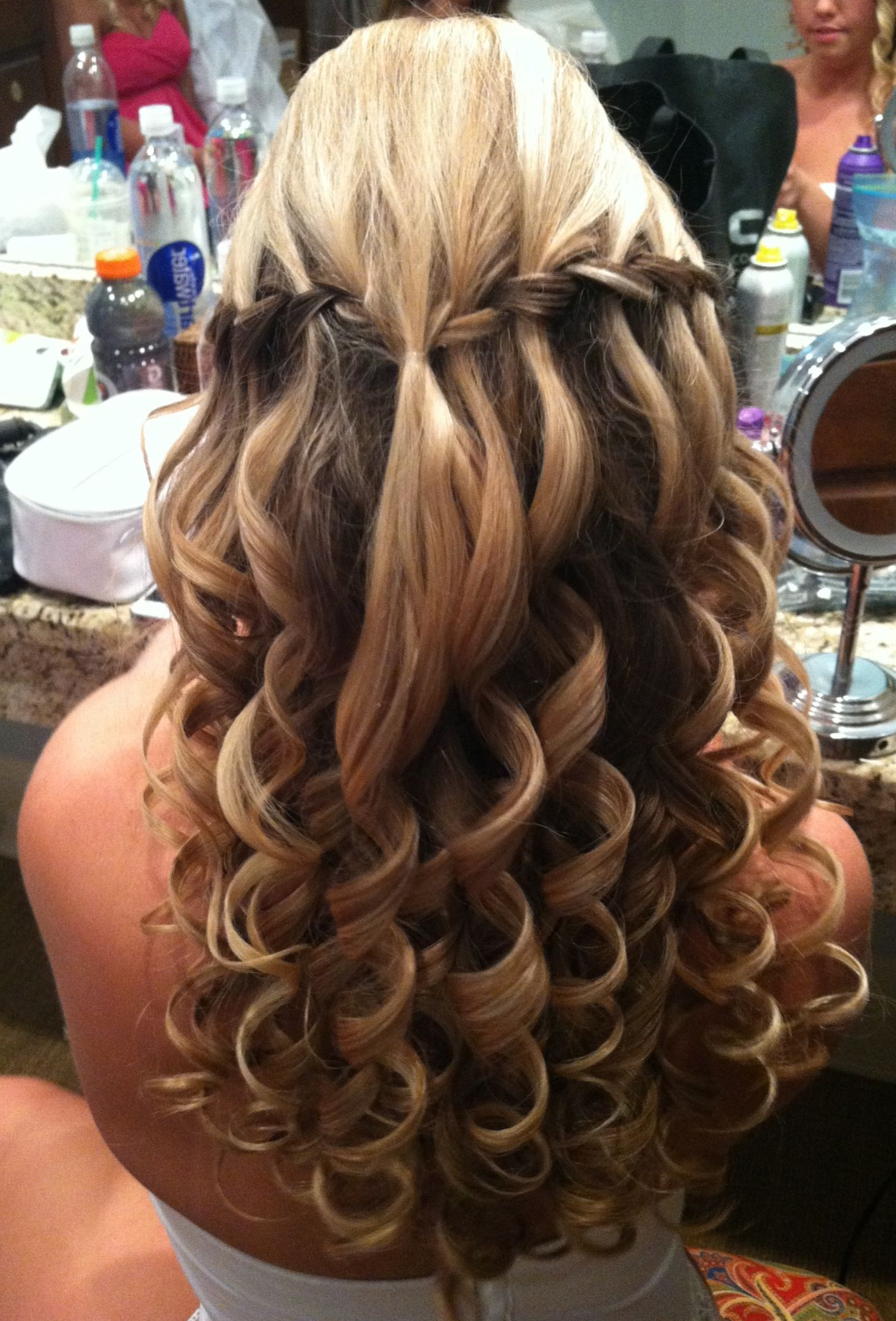 Recent Bumped Hairdo Bridal Hairstyles For Medium Hair Pertaining To Wedding/prom Hair. Waterfall Braids With A Bump And Big Curls (Gallery 6 of 20)