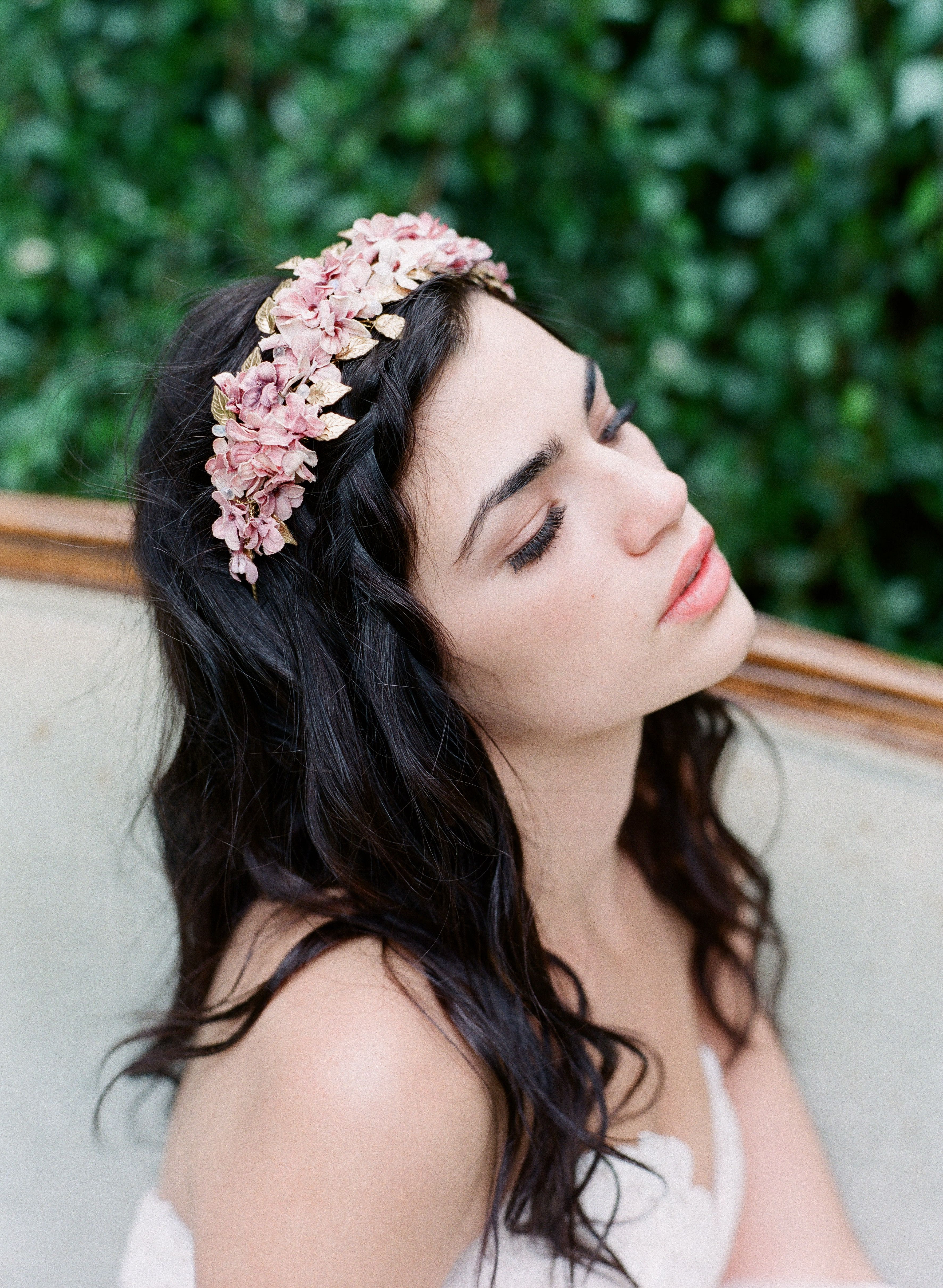 Recent Undone Low Bun Bridal Hairstyles With Floral Headband Pertaining To Half Up Half Down Bridal Style Wedding Hairstyle With Flower Crown (View 8 of 20)