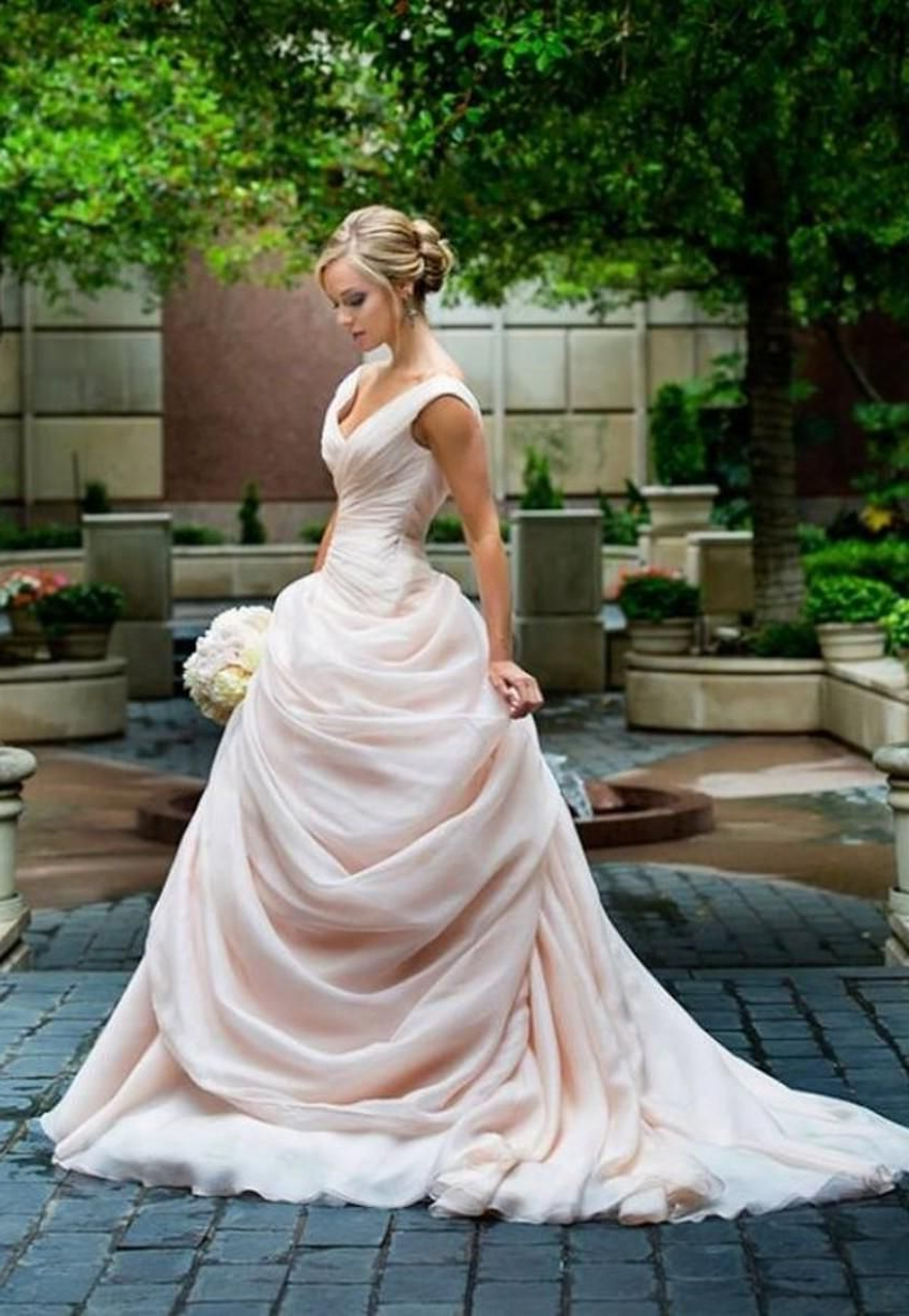Red Dresses Drop Waist Wedding Dress Pink Blush Ball Gown V Neckline In Recent Sleek And Big Princess Ball Gown Updos For Brides (View 12 of 20)