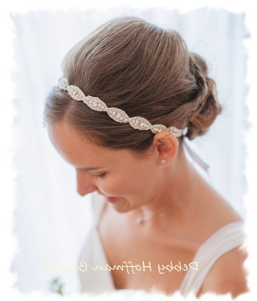 Rhinestone Bridal Headband, Jeweled Headband, Boho Halo Headband With Well Known High Updos With Jeweled Headband For Brides (Gallery 1 of 20)