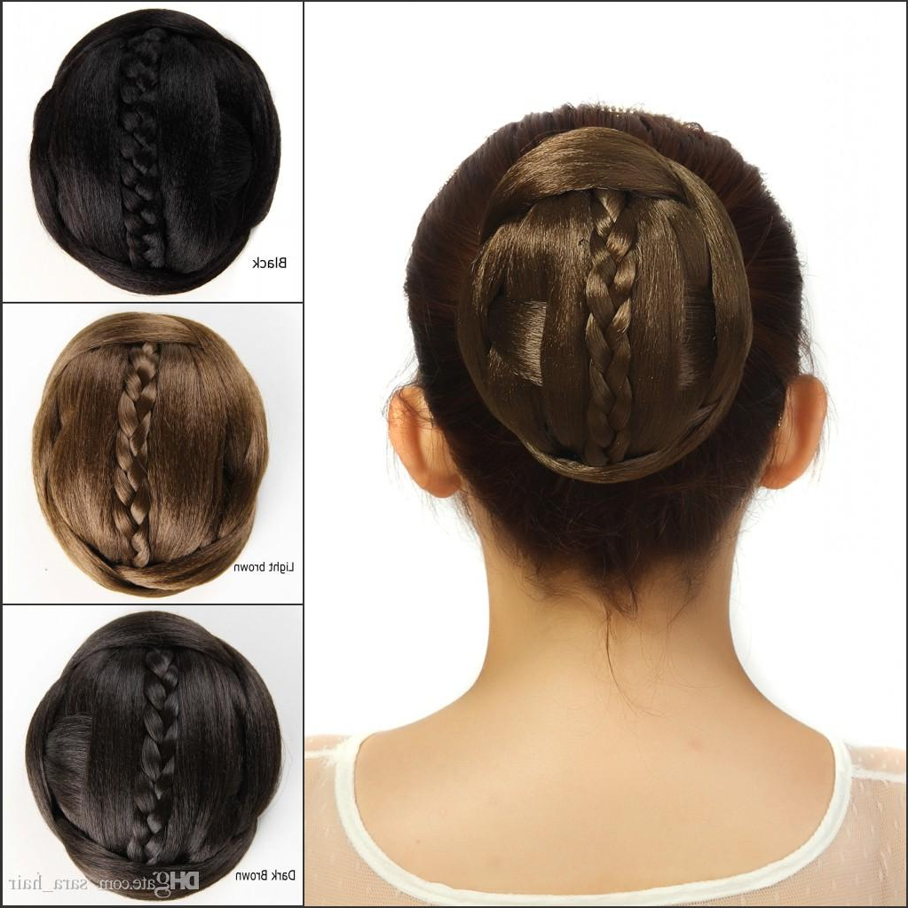 Sara 60G Synthetic Hair Buns Chignon With Braiding Black Brown Clip Pertaining To 2018 Large Curly Bun Bridal Hairstyles With Beaded Clip (View 14 of 20)