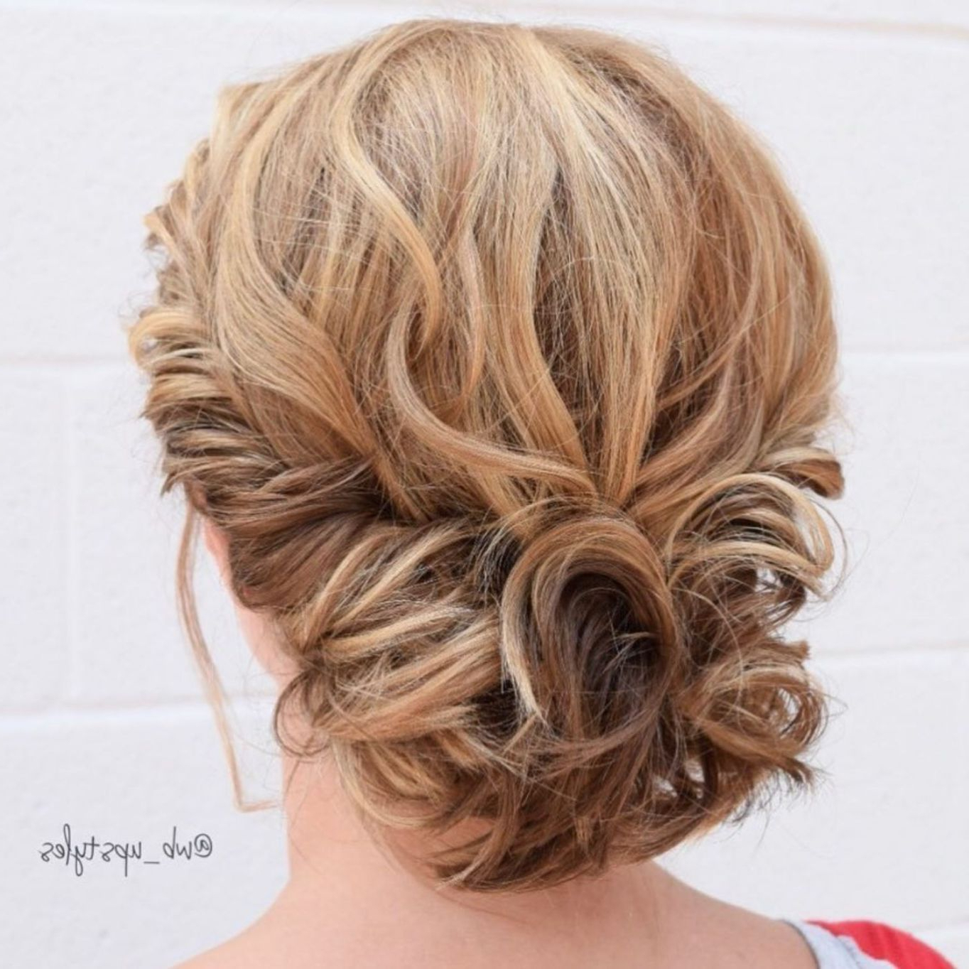 Short Hair Throughout Latest Airy Curly Updos For Wedding (View 2 of 20)