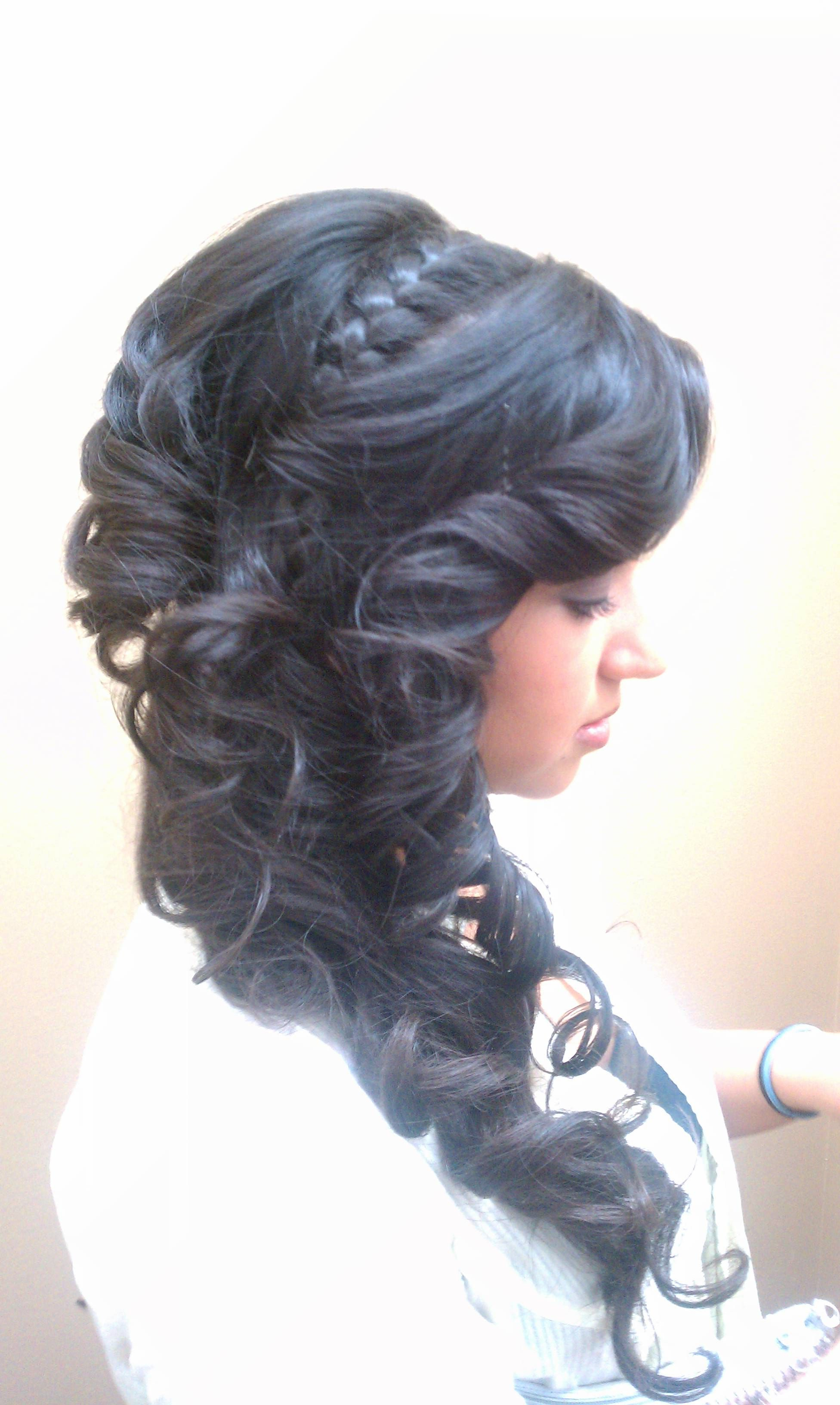 Side, Updo, Long Hair, Braid, Curls, Tight Curls, Upstyle, (View 14 of 20)