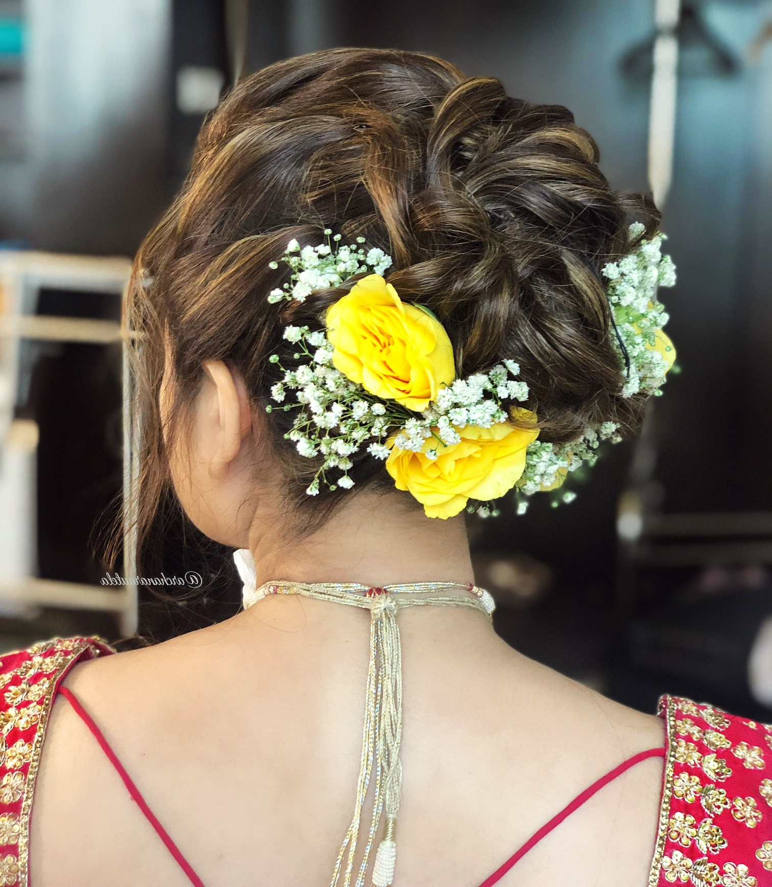 Simple Hair Buns For Sarees & Lehengas To Style Up Your Looks Intended For Best And Newest Brushed Back Bun Bridal Hairstyles (View 16 of 20)
