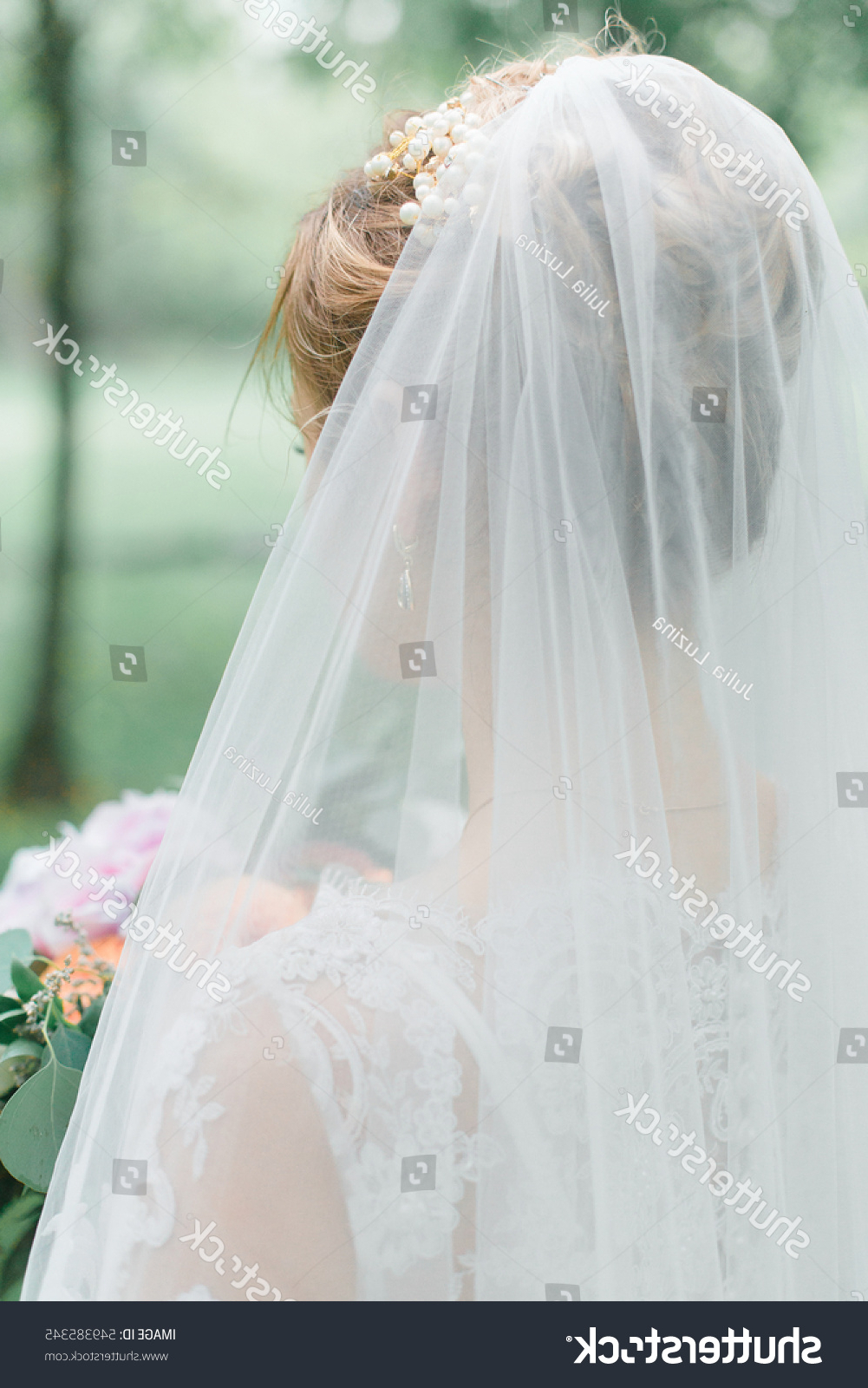 Tender Blond Bride White Dress Veil Stock Photo (Edit Now) 549385345 For Latest Tender Bridal Hairstyles With A Veil (View 14 of 20)