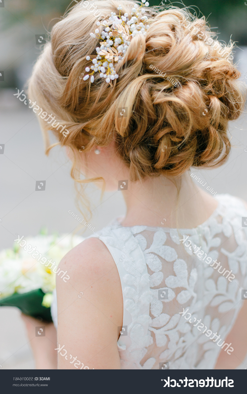 Tender Wedding Hairstyle Long Blond Curly Stock Photo (Edit Now Throughout Newest Tender Bridal Hairstyles With A Veil (View 15 of 20)