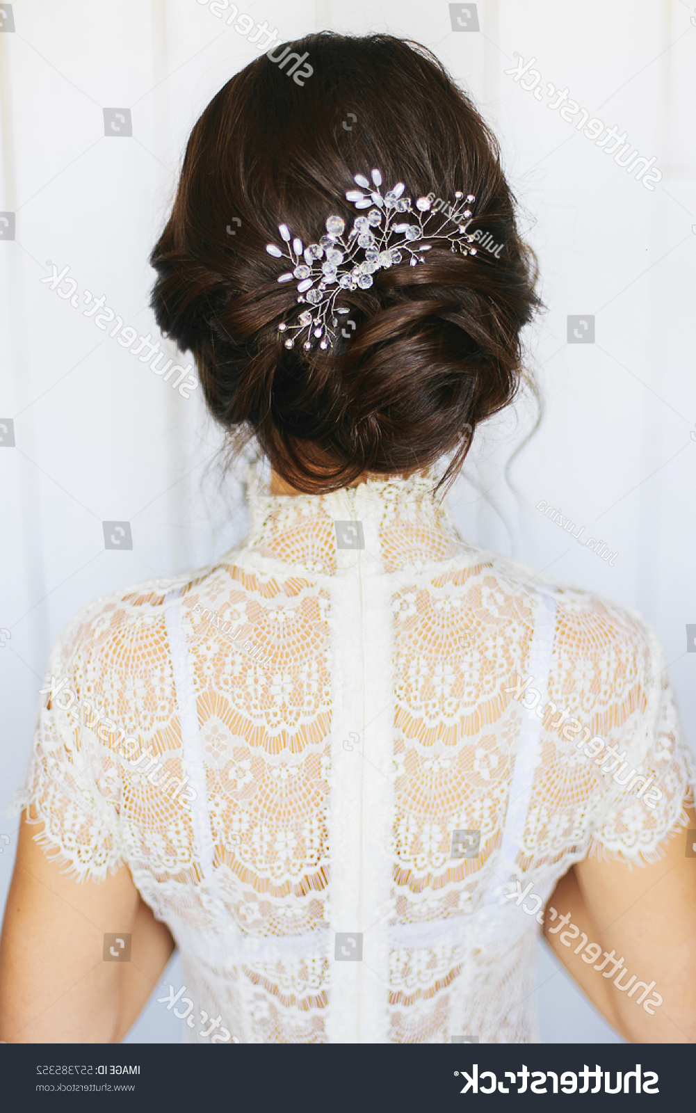 Tender Wedding Stylish Hairstyle Accessories Elegant Stock Photo Inside Popular Tender Bridal Hairstyles With A Veil (View 16 of 20)