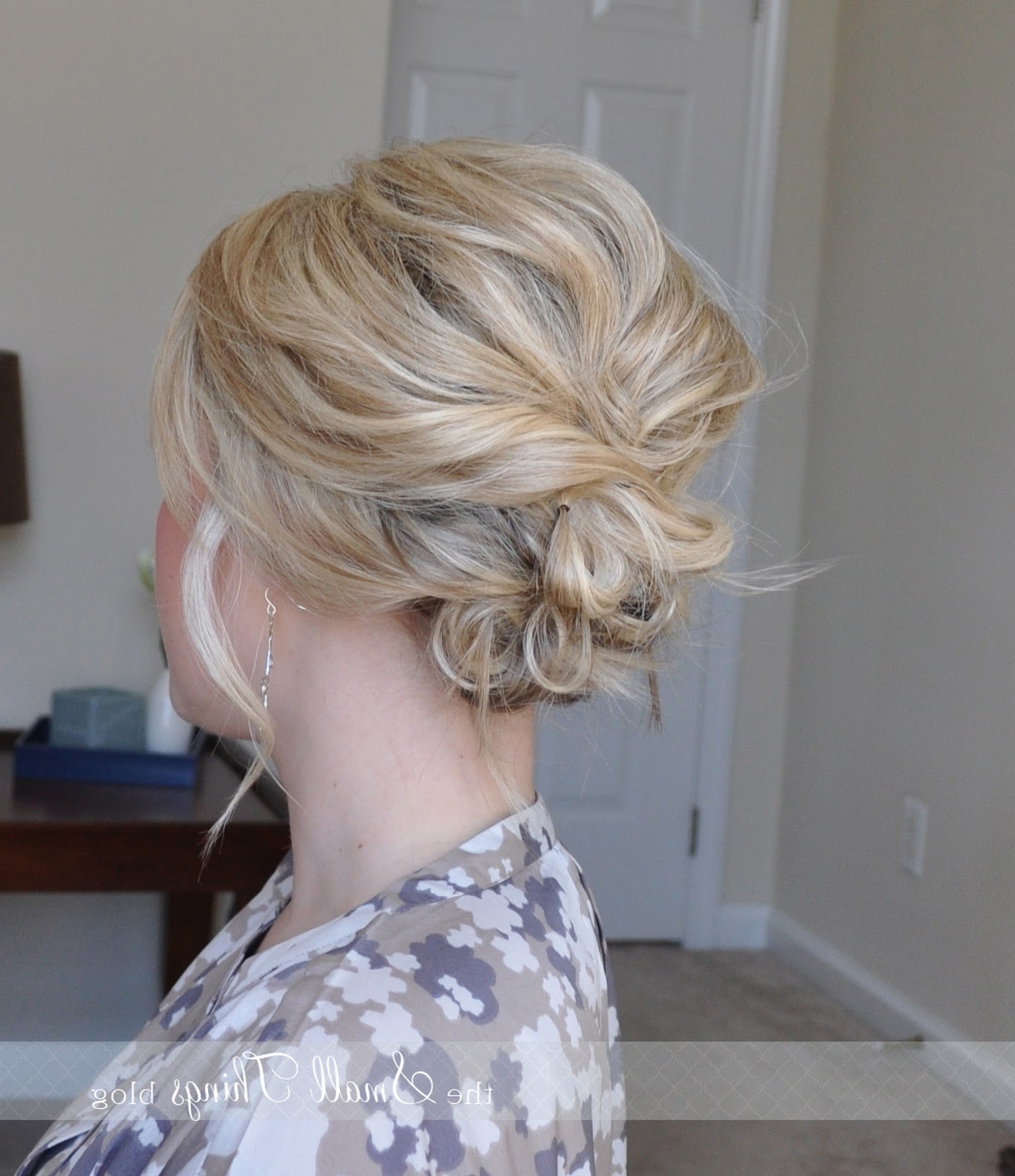 The Messy Side Updo – The Small Things Blog For Newest Low Messy Bun Wedding Hairstyles For Fine Hair (View 8 of 20)