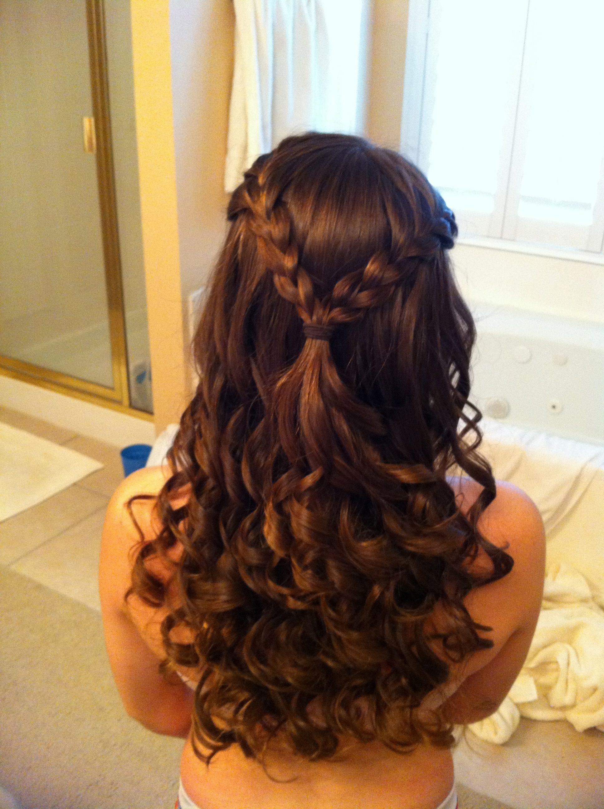 Two Almost Loose French Braids Tied Off Together With Hair Curled Throughout Most Current Tied Back Ombre Curls Bridal Hairstyles (View 3 of 20)