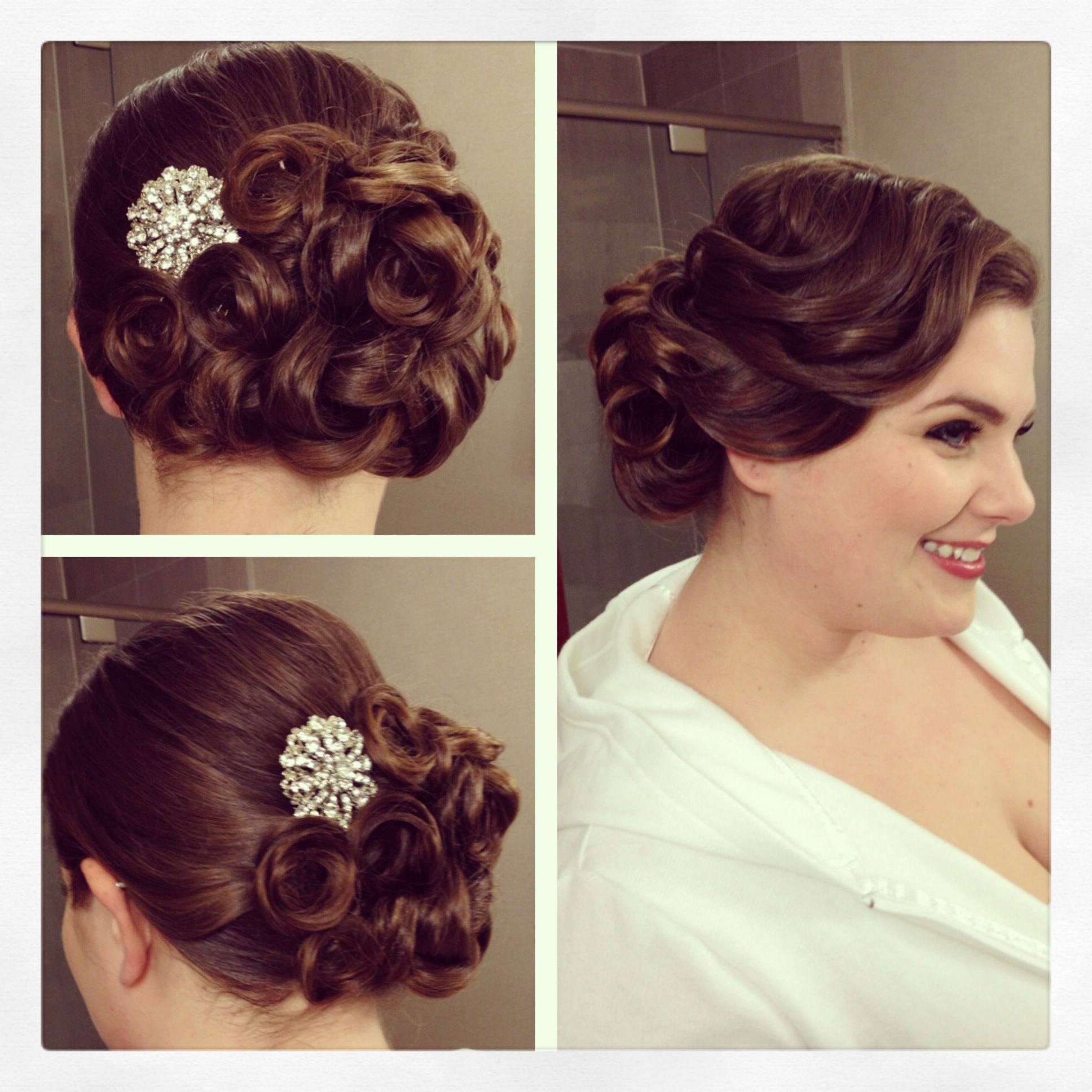 Vintage Side Updo, Vintage Hairstyle, Pin Curls, Bridal Hair, Bridal Within Recent Pin Up Curl Hairstyles For Bridal Hair (Gallery 1 of 20)
