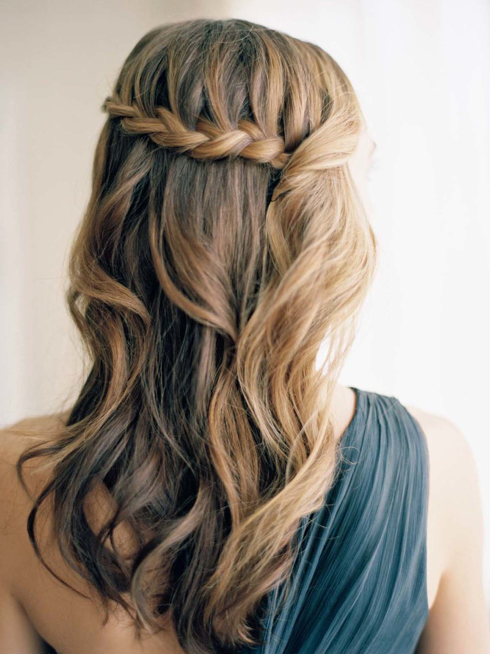 Waterfall Braid Hair Styles Within Well Known Diagonal Waterfall Braid In Half Up Bridal Hairstyles (View 17 of 20)