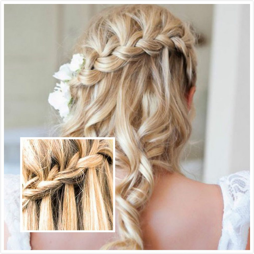 Featured Photo of Diagonal Waterfall Braid In Half Up Bridal Hairstyles