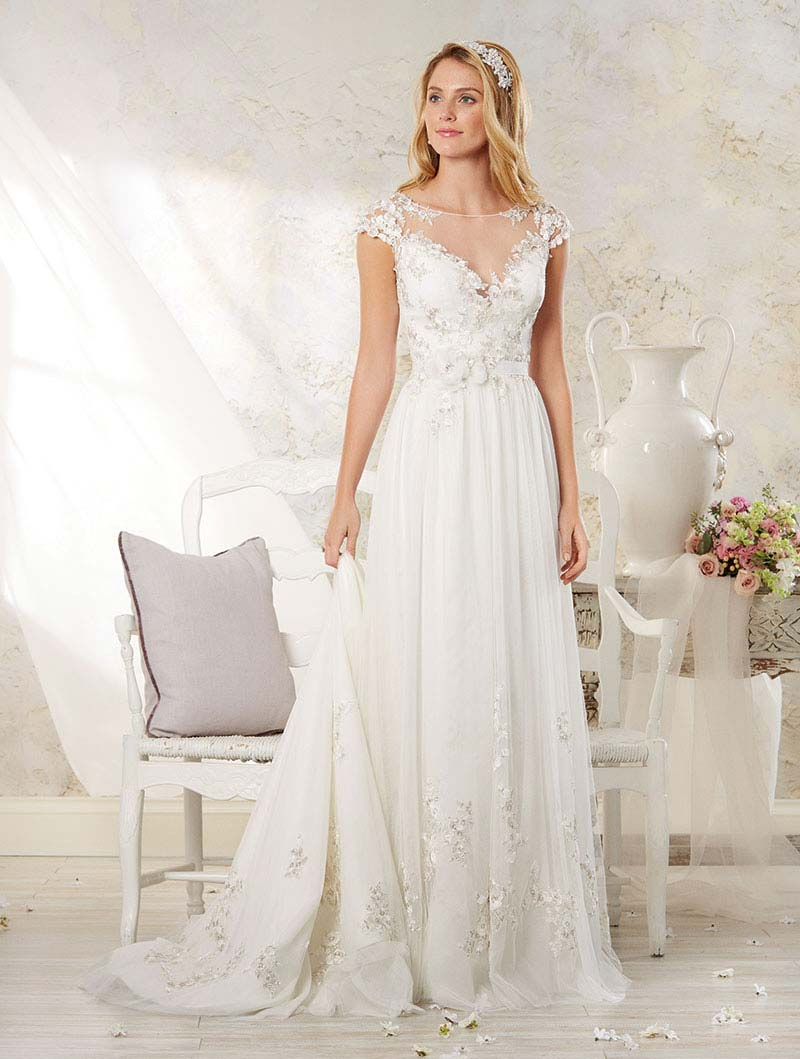 Wedding Dresses With Illusion Necklines: 27 Of Our Favourite Styles Regarding Well Liked Sleek And Big Princess Ball Gown Updos For Brides (View 16 of 20)