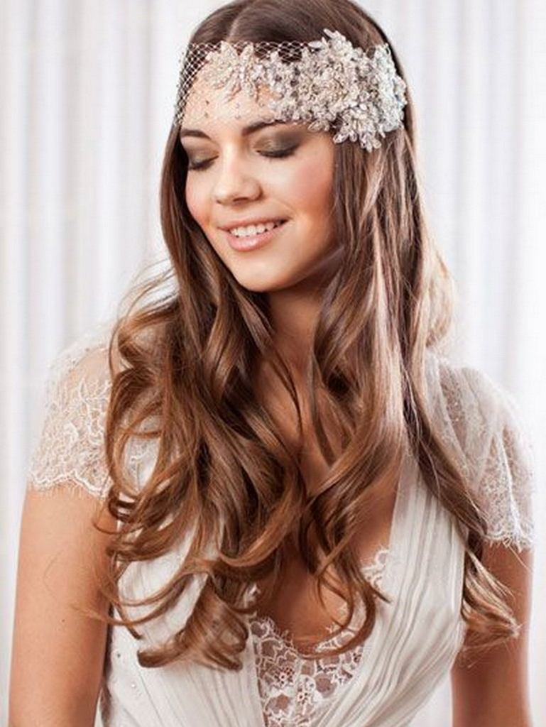 Wedding Hair Down Do Inspiration Loose Waves Head Wrap – Knotsvilla For Most Recent Loose Curls Hairstyles For Wedding (View 19 of 20)