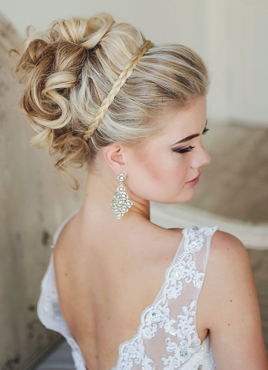 Wedding Hair Inspiration Braid As A Headband With The Curls Raised Regarding Well Known Lifted Curls Updo Hairstyles For Weddings (View 16 of 20)