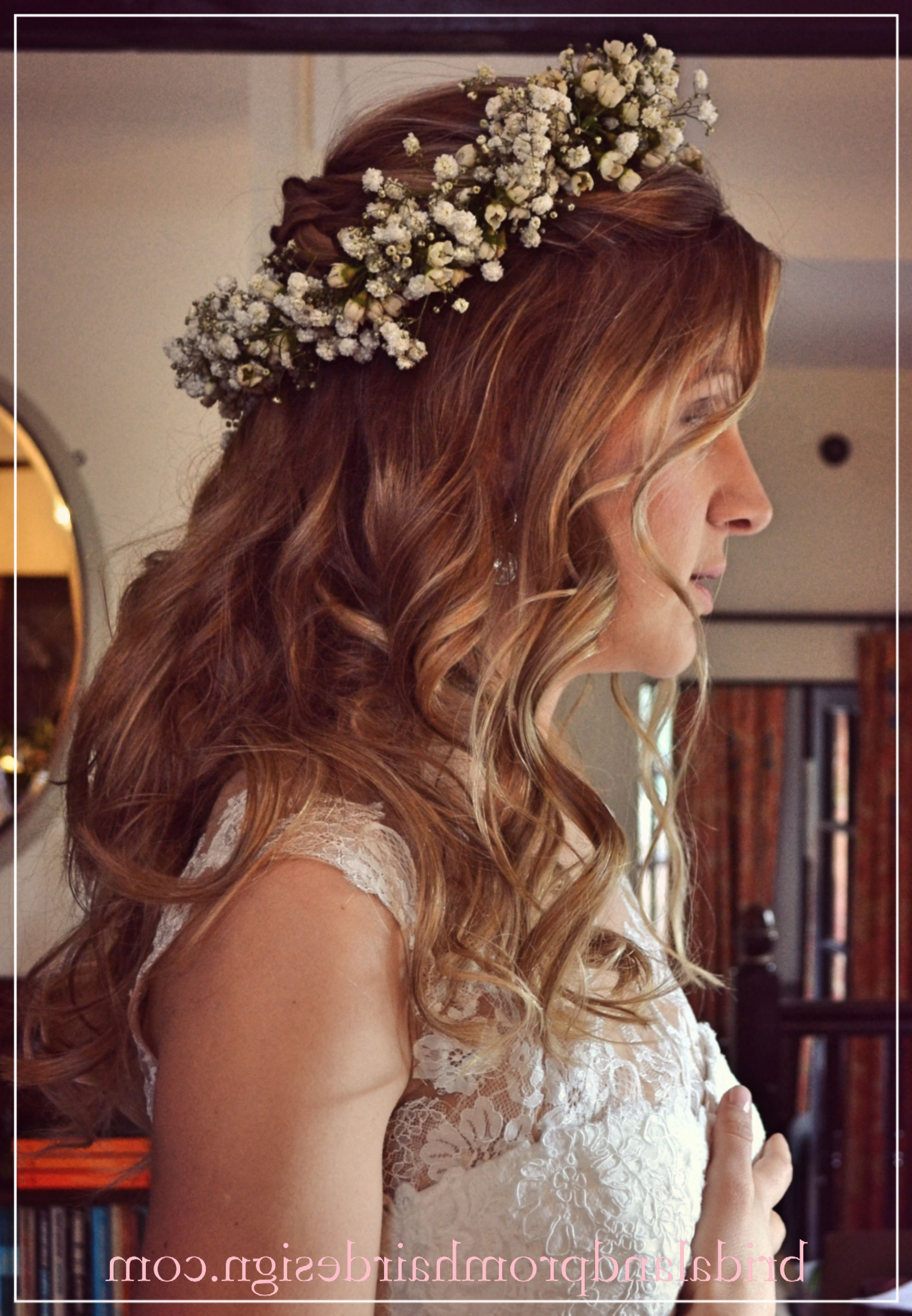 Wedding Hair, Prom Hair, Flower Crown, Boho Half Up Half Down Pertaining To Most Recently Released Floral Crown Half Up Half Down Bridal Hairstyles (View 19 of 20)