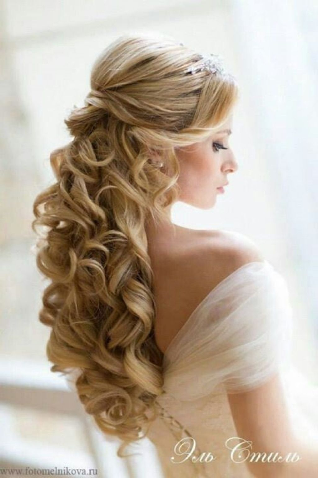 Wedding Hairstyle : Half Up Down Do Braid Curls Wedding Hairstyles Inside Current Side Curls Bridal Hairstyles With Tiara And Lace Veil (View 16 of 20)