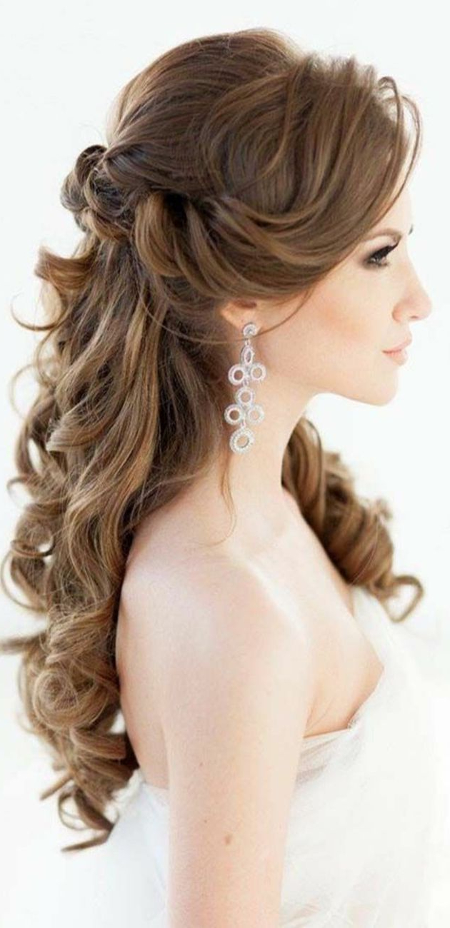 Wedding Hairstyle : Half Up Down Do Braid Curls Wedding Hairstyles With Trendy Side Curls Bridal Hairstyles With Tiara And Lace Veil (View 17 of 20)