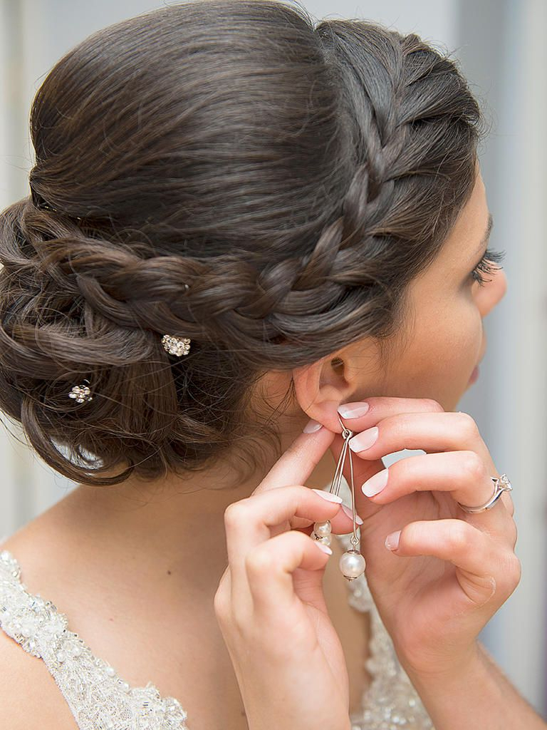 Wedding Hairstyles Regarding Preferred Crown Braid, Bouffant And Headpiece Bridal Hairstyles (View 3 of 20)