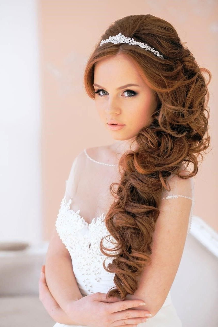 Featured Photo of Long Curly Bridal Hairstyles With A Tiara