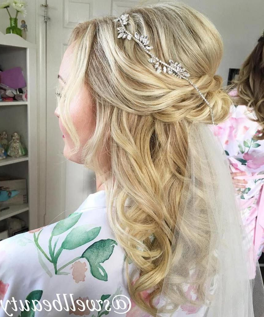 Well Known Blonde Half Up Bridal Hairstyles With Veil Intended For Half Up Half Down Wedding Hairstyles – 50 Stylish Ideas For Brides (View 15 of 20)