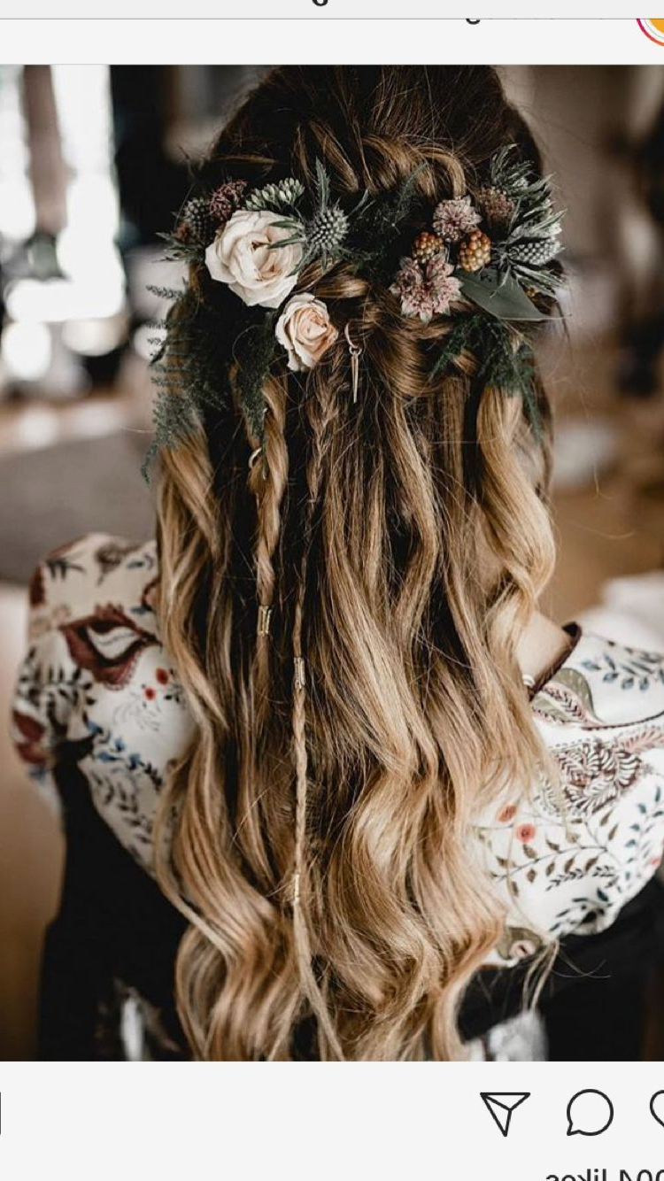 Well Known Bohemian Curls Bridal Hairstyles With Floral Clip Regarding Gorgeous Braids And Florals With Loose Waves For A Bohemian Wedding (View 20 of 20)