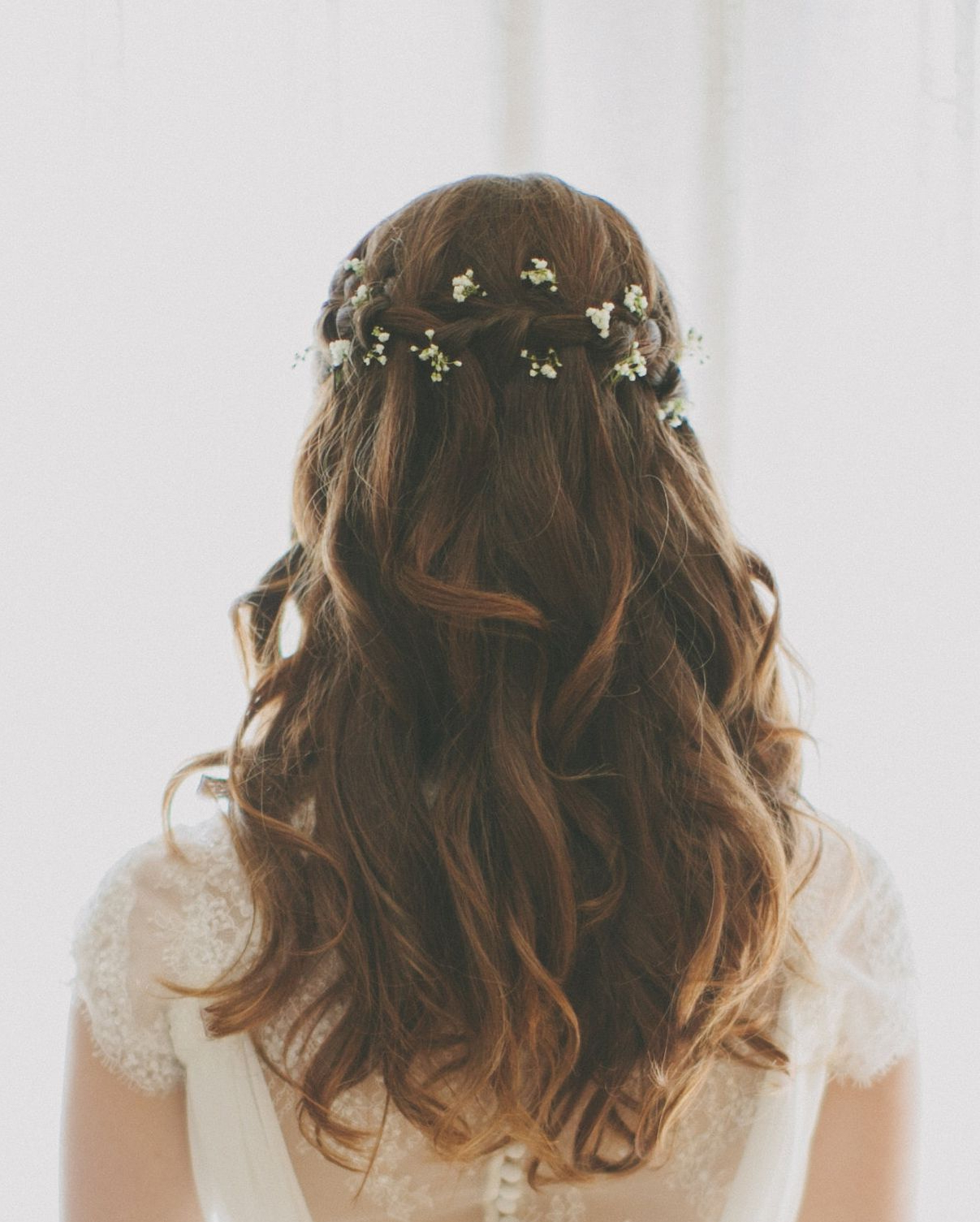 Well Known Braided Wedding Hairstyles With Subtle Waves With Waterfall Braid Wedding Hair With Baby's Breath (Gallery 5 of 20)