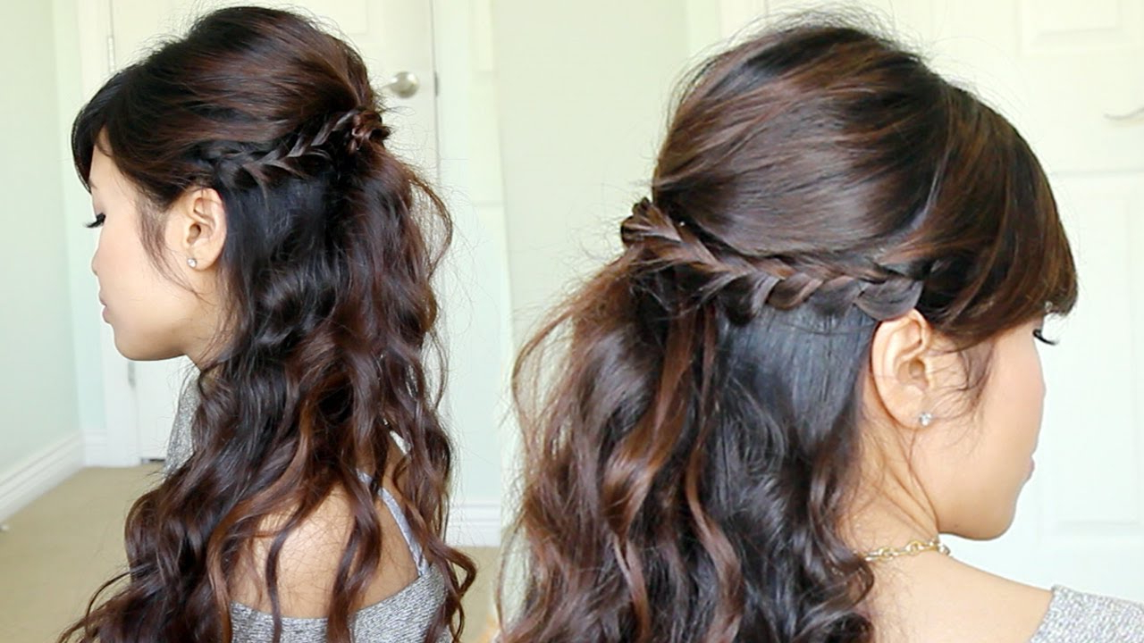 Well Known Bumped Twist Half Updo Bridal Hairstyles In Prom Hairstyle: Braided Half Updo Feat. Nume Reverse Curling Wand (Gallery 18 of 20)