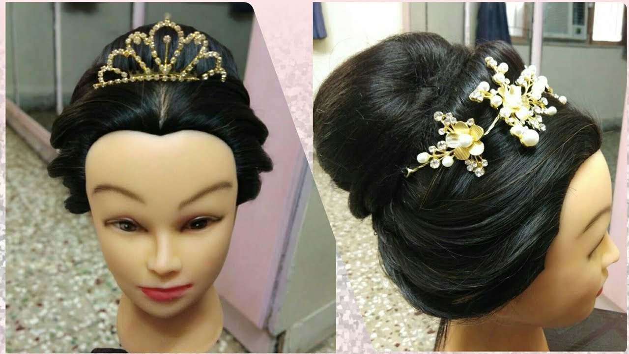 Well Known Crown Braid, Bouffant And Headpiece Bridal Hairstyles With Regard To Bridal Hairstyle With Crown !! Hairstyle With Crown Headband!! – Youtube (View 14 of 20)