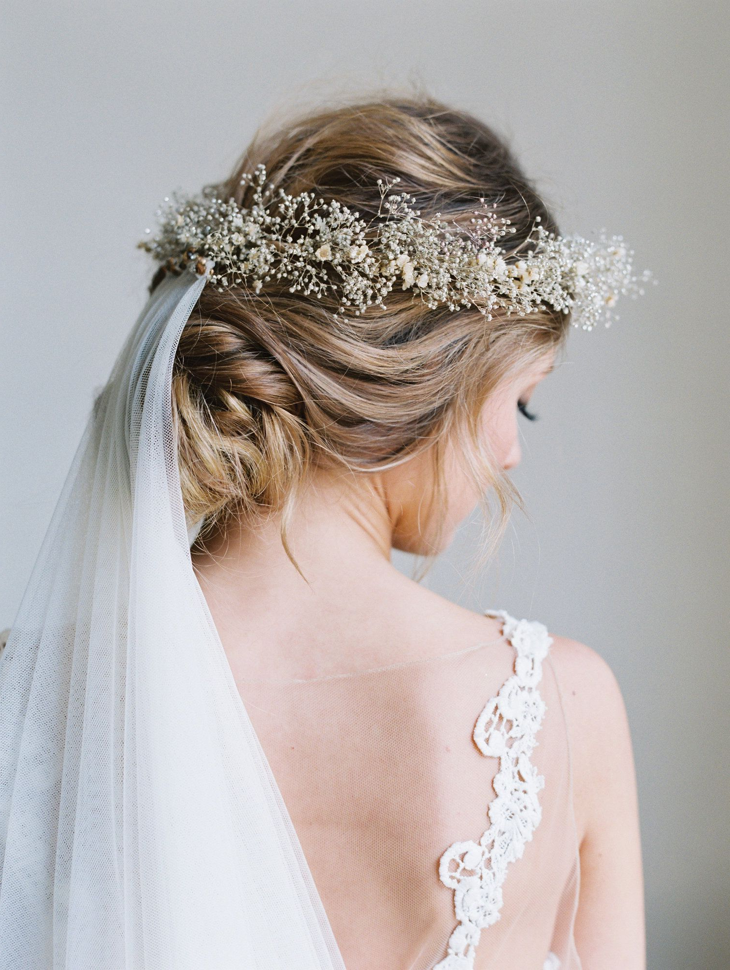 Well Known Crown Braid, Bouffant And Headpiece Bridal Hairstyles With Regard To Champagne Flower Crown Bridal Hairstyle Updo Babys Breath Crown (View 6 of 20)