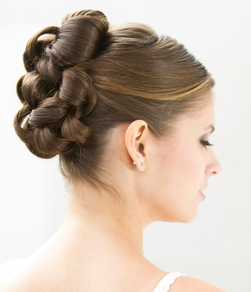 Well Known Curly Bun Bridal Updos For Shorter Hair Throughout 3 Elegant Wedding Hairstyles For Medium Hair + How Tos (View 18 of 20)