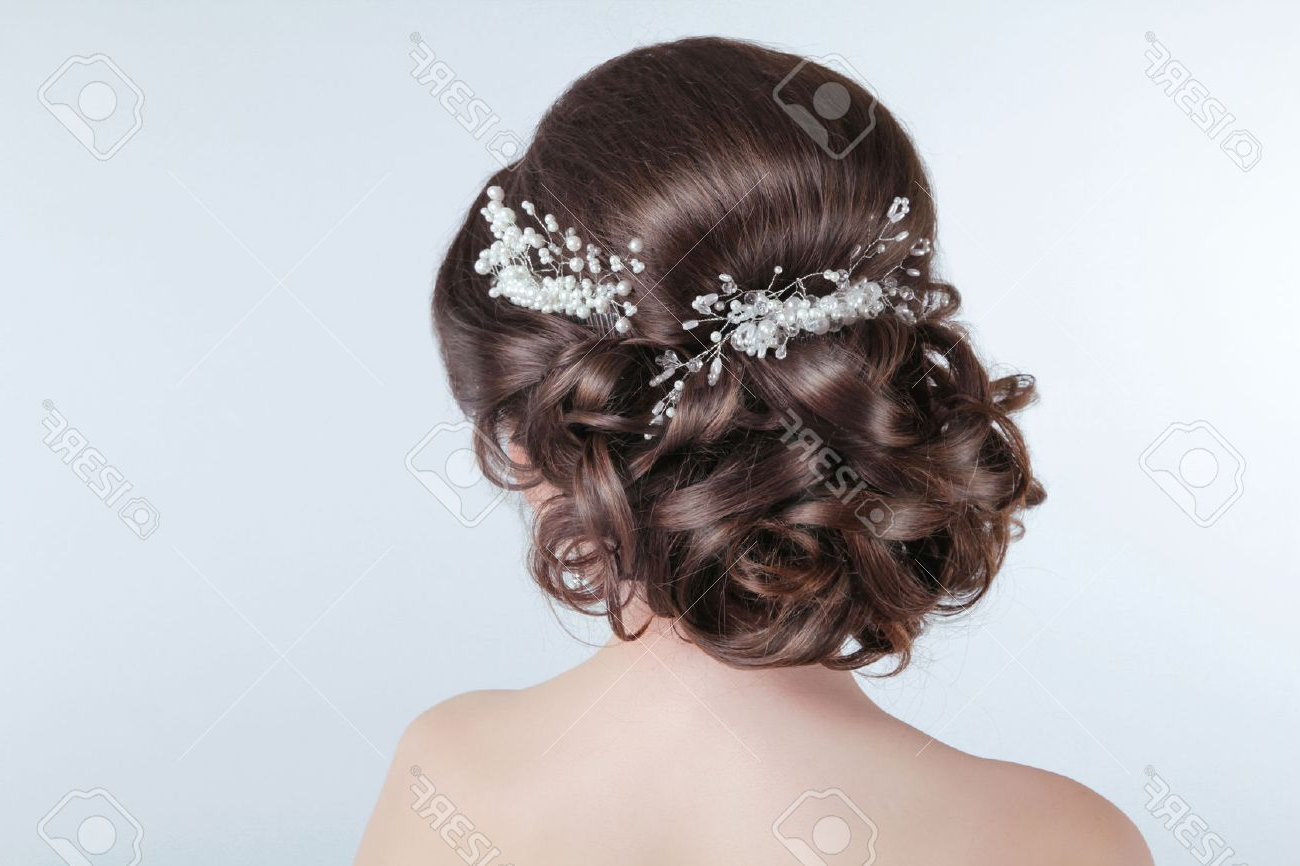 Well Known Curly Wedding Updos With Flower Barrette Ties With Regard To Beauty Wedding Hairstyle. Bride (View 6 of 20)