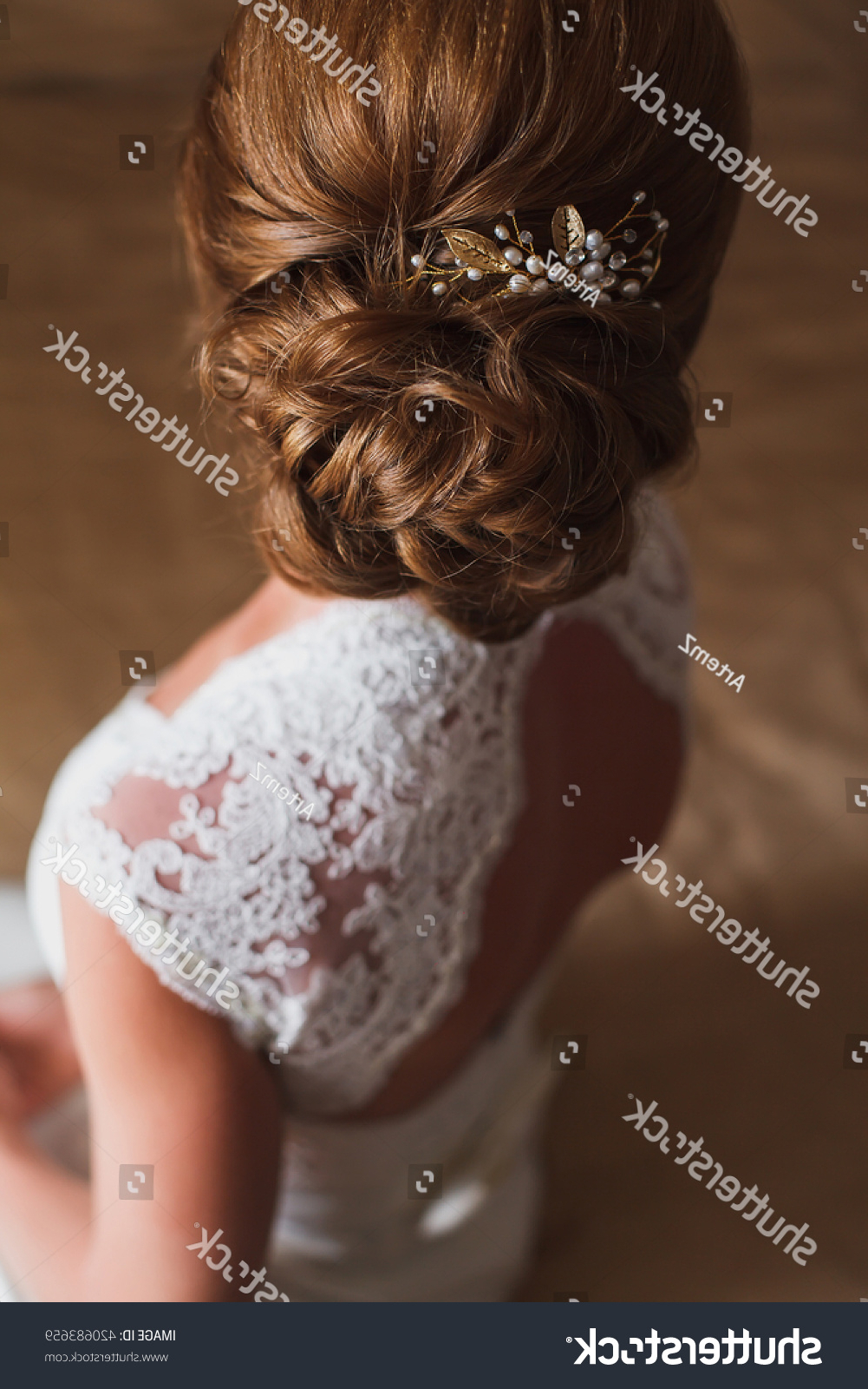 Well Known Curly Wedding Updos With Flower Barrette Ties Within Wedding Hairstyle Bride Brownhaired Girl Curly Stock Photo (Edit Now (Gallery 19 of 20)